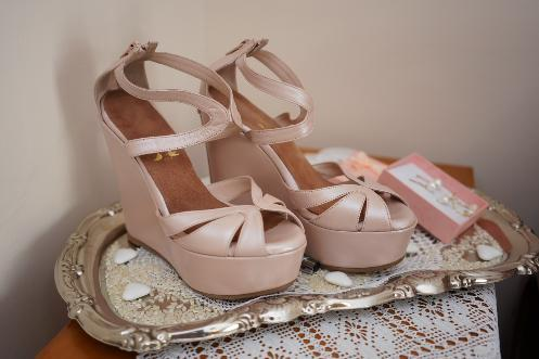 Lou bridal wedge sandals